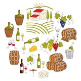 Wine and wine making set vector illustrations Royalty Free Stock Photos