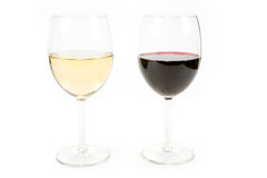 Wine and wineglass. With white background royalty free stock image