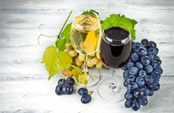 Wine in wineglass with grapes Stock Images