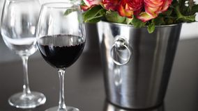 Wine in a wineglass stock video footage
