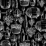 Wine and winemaking seamless pattern drawn by Stock Image
