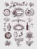 Wine and winemaking vintage set. Wine template design. Vector illustration. Sketch style design. Red wine, white wine. Handdrawn grapes royalty free illustration
