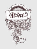 Wine and winemaking vintage vector barrel Stock Images