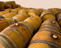 Wine wooden oak barrels in winery Royalty Free Stock Image