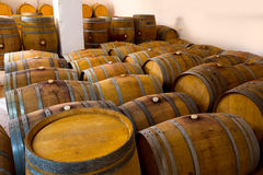 Wine wooden oak barrels in winery Stock Photos