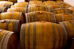 Wine wooden oak barrels in winery Stock Photography