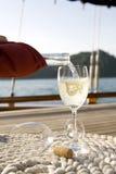 Wine on a yacht Stock Photo