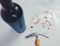 Winebottle cork corkscrew stains redwine wine red openbottle Stock Photography