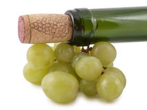 Winebottle and grapes Stock Images