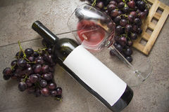 Winebottle with red wine Stock Photo