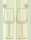 Wineexponeringsglas med dekorativa element Arkivbild