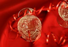 wineglass κορδελλών Χριστουγέν&nu Στοκ φωτογραφίες με δικαίωμα ελεύθερης χρήσης