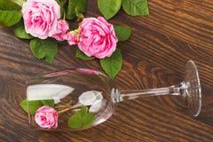 Wineglass με τα ανοικτό ροζ τριαντάφυλλα Στοκ Εικόνα