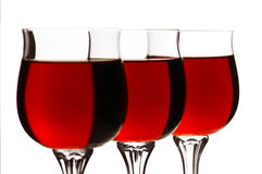 Wineglass. Three Full Wineglass Isolated On White Background royalty free stock images