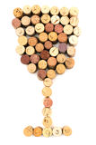 Wineglass. The image of wineglass made from wine corks stock photos