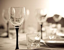 Wineglass. Against blurry background. Shallow DOF. Sepia tone Royalty Free Stock Image