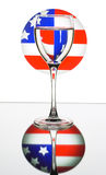 Wineglass on the American flag Stock Image