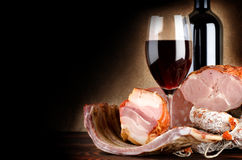 Wineglass And Meat Royalty Free Stock Photos