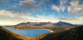 Wineglass Bay. A panorama of Wineglass Bay @ Freycinet National Park, Tasmania, Australia Stock Photos