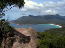 Wineglass Bay. View over the wineglass bay, freycinet national park, Tasmania, Australia Stock Photo