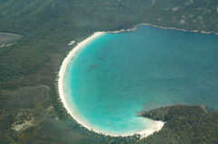 Wineglass bay from above. Wineglass bay take from a plane. Tasmania, Australia Royalty Free Stock Photos