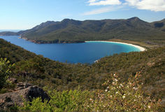 Wineglass bay, Freycinet National Park, Tasmania Australia. View from lookout of wineglass bay, tasmania, australia with mountains in background on a sunny day Royalty Free Stock Photos