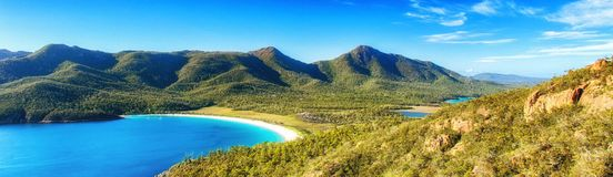 Wineglass bay. On the Freycinet Peninsula in North East Tasmania on a clear sunny day royalty free stock photos