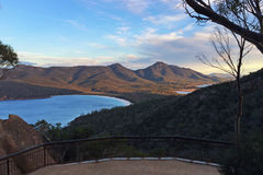 Wineglass Bay Lookout. A view towards Wineglass Bay, Tasmania, Australia from a lookout before sunset royalty free stock photos