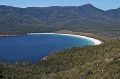 Wineglass Bay, Tasmania. Lookout view of the tranquil, blue waters of the famous Wineglass Bay; Tasmania, Australia stock photos