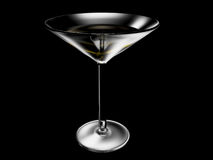 Wineglass on black background. The wineglass with wine on black background Stock Image