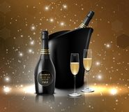 Wineglass with black wine bottles of champagne in a bucket Stock Photo