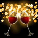 Wineglass on blurred bokeh background. Romantic wine design template Royalty Free Stock Photos
