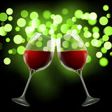 Wineglass on blurred bokeh background. Romantic wine design template Stock Image