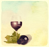 Wineglass, bottle of wine and grapes leaf. Stock Images