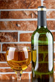 Wineglass on brick wall Stock Images