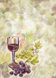 Wineglass and bunch of grapes. Watercolor. Art wine-making background Stock Photo