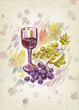 Wineglass and bunch of grapes. Watercolor. Art wine-making background stock illustration