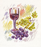 Wineglass and bunch of grapes. Watercolor. Art wine-making background Royalty Free Stock Photo