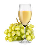 Wineglass and a bunch of grapes. Wineglass and a Bunch of green grapes  on white background Stock Photos