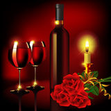 Wineglass in candlelight. Red wine near lighting candles on dark background. Vector illustration Stock Photo