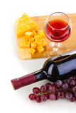 wineglass and cheese Stock Photography