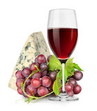 Wineglass, cheese and grapes Stock Photos