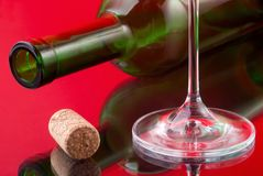 Wineglass,cork and bottle Stock Photo
