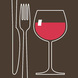 Wineglass and cutlery Royalty Free Stock Photos