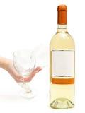 wineglass för vit wine för hand Arkivbilder