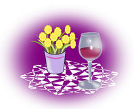 Wineglass and Flowers Stock Photography