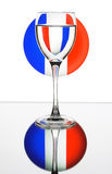 Wineglass on the France flag Stock Photos