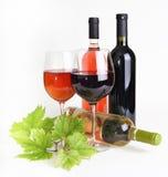 Wineglass, frasco do vinho e folha fotografia de stock