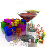 Wineglass and gifts Stock Photo