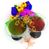 Wineglass and gifts Stock Image